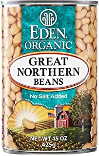 Eden Organic Great Northern Beans, 15 oz Can, No Salt, Non-GMO, Gluten Free, Vegan, Kosher, U.S. Grown, Heat and Serve, Ma...