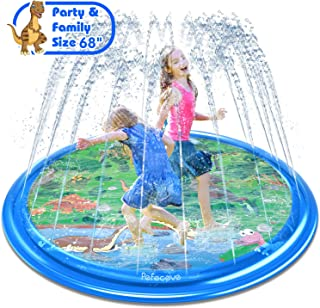 """PEFECEVE Splash Pad for Kids, 68"""" Outdoor Summer Splash Mat for Toddlers, Babies, and 1-12 Years Old Boys & Girls, Wading Splash & Sprinkler Water Toys for Fun Games, Party, and Play"""
