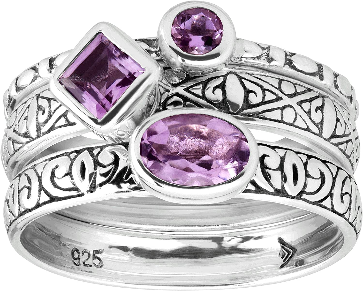Free shipping New Silpada 'Maiden Voyage' Natural Amethyst Stacking in Rings Sterl Low price