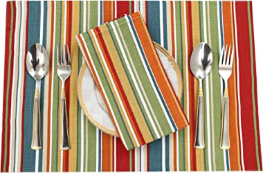 "Ruvanti Placemats for Dinning Table .100 % Cotton Woven (13x19 "") Place mats Set of 6. Red & Fall Multi Stripe Woven Tabl"