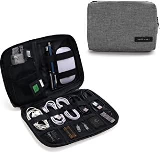 BAGSMART Portable Travel USB Cable Organizer Bag Cases for Small Electronics and Accessories, Grey