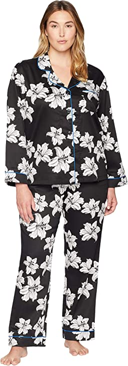 Plus Size Classic Notch Collar Pajama Set