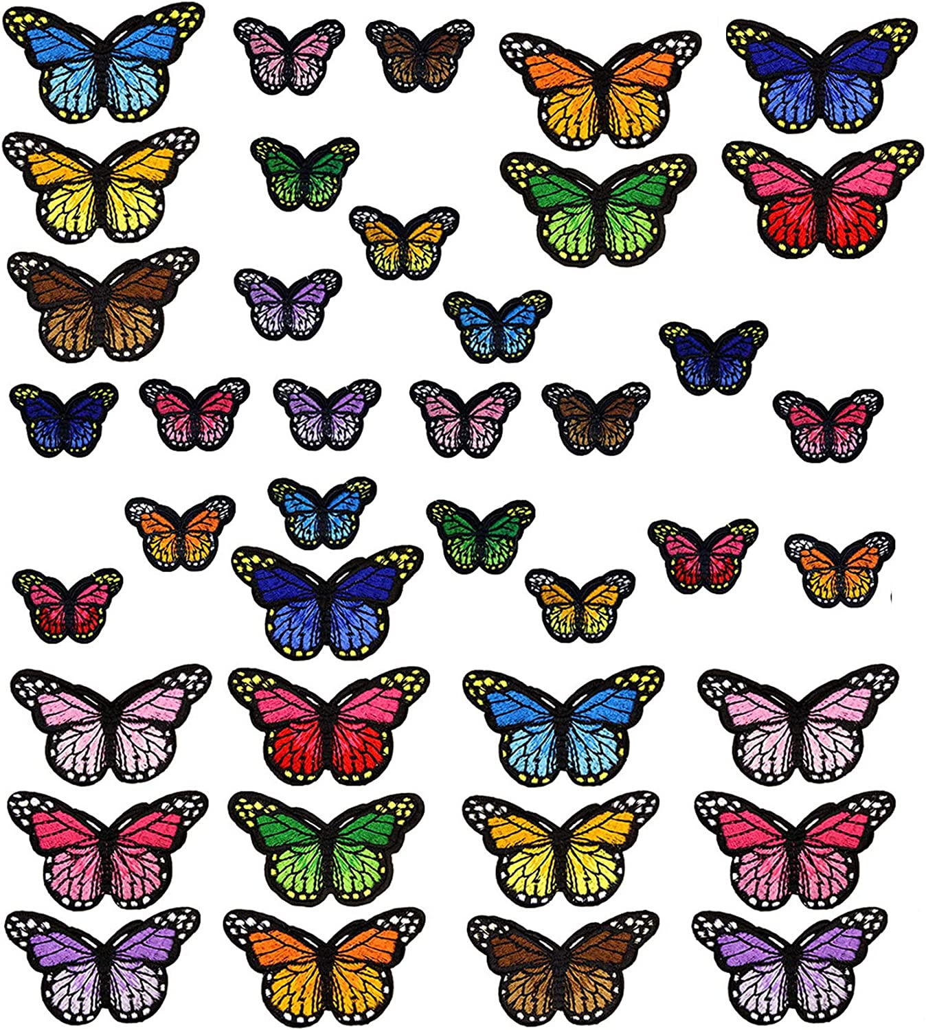 YYaaloa 40pcs Popular standard Butterfly Iron on Patches Award-winning store Embroidered A Size 2 Sew