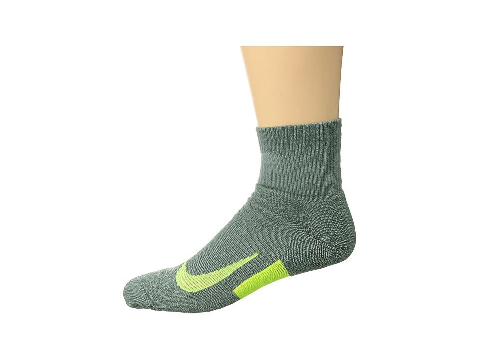 Nike Elite Cushion Quarter Running Socks (Clay Green/Volt/Volt) Quarter Length Socks Shoes