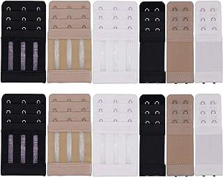 BOZEVON Cosy Bra Extender Bra Extender Assorted Colors Bra Extender Straps Buckle 2 Hooks 2 Rows Elasticated pack of 6 Pcs