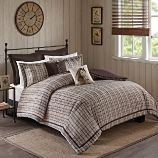 Woolrich Willaimsport Queen Size Bed Comforter Set Bed in A Bag - Tan, Plaid – 8 Pieces Bedding Sets – Ultra Soft Microfiber Bedroom Comforters