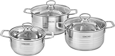 CONCORD 6 Piece Stainless Steel Cookware Set (Induction Compatible)