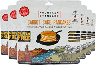 Carrot Cake Pancake Mix with Pineapple, Rasins & Coconut Milk, Gluten Free, Just Add Water, 22 Plant Based Proteins/Serving, 9 oz/pouch, 6 Count