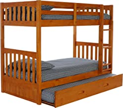 Discovery World Furniture with with Trundle Bunk Bed, Twin Over Twin, Honey