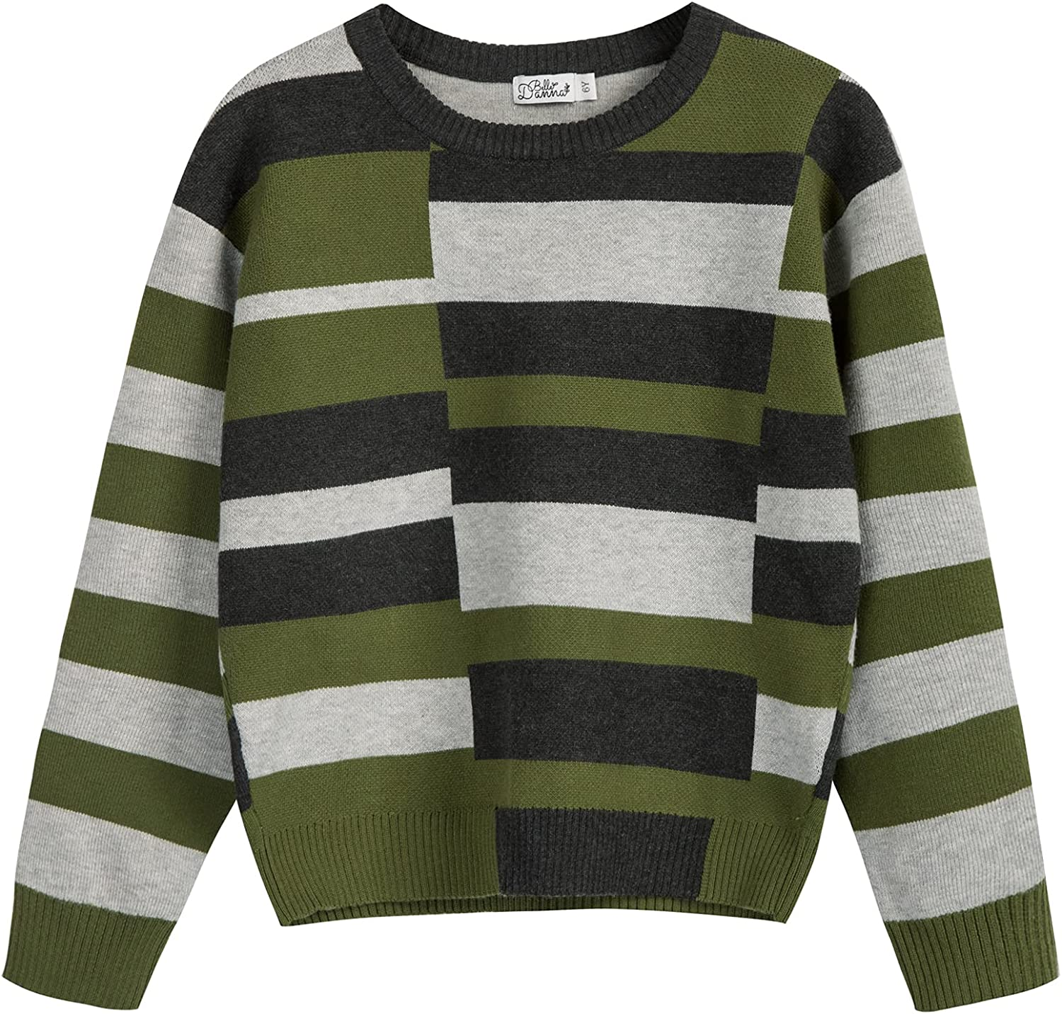 Kids Boys Long Sleeve Striped Sweater Crewneck Knit Pullover Top Size for 5-12