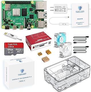 TRASKIT Raspberry Pi 4 Model B Starter Kit/ラズベリーパイ4B(4GB RAM)技適マーク付/MicroSDHCカード64GB NOOBSプリインストール/簡単に取り付けるケース/5.1V/3A Typ...