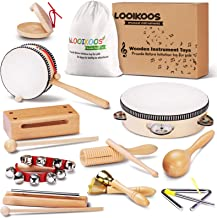 LOOIKOOS Toddler Musical Instruments Natural Wooden Percussion Instruments Toy for Kids Preschool Educational, Musical Toy...