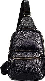 Men's Genuine Leather Sling Bag Chest Crossbody Shoulder Bag for Travel Hiking