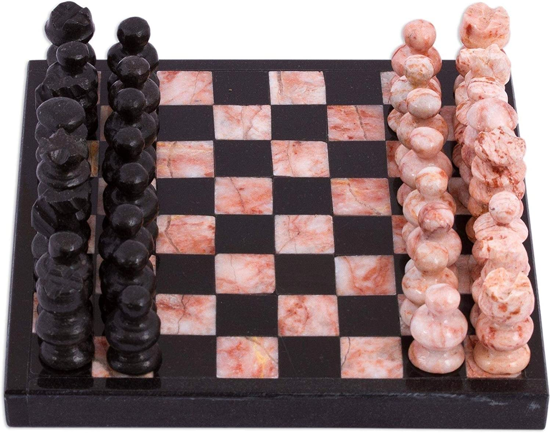 Unknown1 Handmade Mesa Mall Black and Pink Challenge Marble San Antonio Mall Mini Chess Set