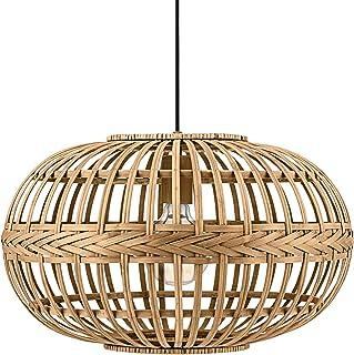 Eglo Suspensions Amsfield, Lampe Suspendue à Flamme Vintage, Nature, Boho, Bien-Être, Lampe Pendante en Acier, Bois en Cou...
