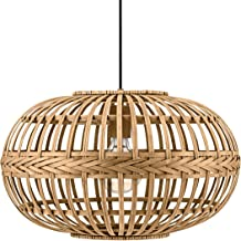 EGLO pendelarmatuur AMSFIELD, 1 lichtbron hanglamp Vintage, natuur, Boho, Hygge, pendellamp van staal, hout in natuurlijke...