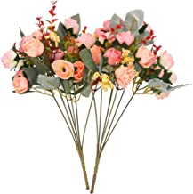 JEDFORE 21 Heads Artificial Silk Rose Dried Flowers Flower Arrangement Fake Bouquet Wedding Home Floral Decor - Pack of 2...