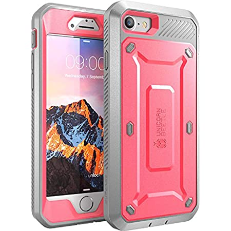 SupCase Unicorn Beetle Pro Series Case Designed for iPhone 7/iPhone 8/ iPhone SE 2nd generation (2020 Release), Full-body Rugged Holster Case with Built-in Screen Protector (Pink/Gray)