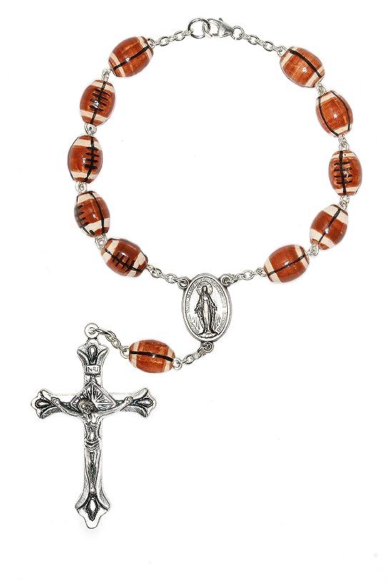 One Decade Football Auto Rosary, Football Ceramic Sport Auto Rosary