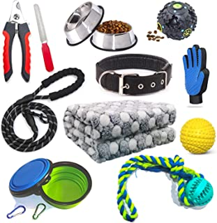 N-A Puppy Starter Kit 12 Piece Dog Accessories Supplies for Small Dogs Includes:Dog Toys/Dog Bed Blankets/Dog Clippers for Grooming/Puppy Training Supplies/Dog Leashes