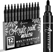 Black Paint Marker for Wood, Glass, Canvas, Rocks, Fabric. Set of Black Acrylic Paint pens, Medium tip 12 Markers Value Pack