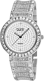 ساعة بورغي بمينا فضي وسوار ستانلس ستيل للنساء - BUR060SS