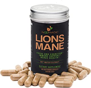 Lion's Mane Mushroom, 60 Capsules | 500mg Each, Nerve Growth Factor (NGF) & Nootropic (Focus, Memory, Brain Enhancement), Hot Water Extract, Wood Grown, Fruiting Bodies, 30% Beta-D-Glucans