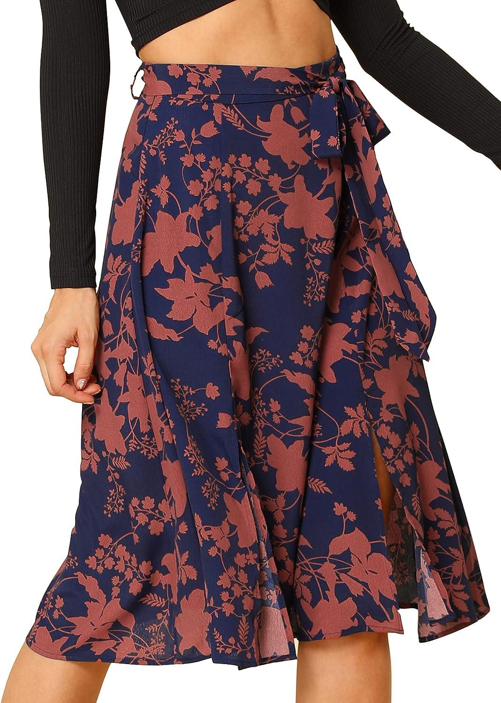 Allegra K Women's Slits Front High Waist A-Line Belted Floral Flowy Midi Skirt