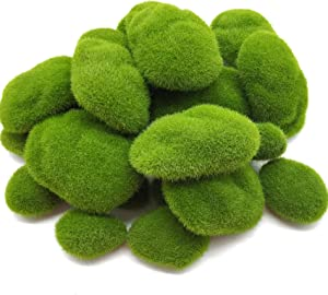 RONYOUNG 30PCS Artificial Moss Rocks, 3 Size Faux Green Moss Covered Stones Green Moss Balls Decorative Fake Moss Decor for Fairy Gardens Floral Arrangements Craft