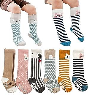 6 Pairs Toddler Socks, Non Skid Knee High Cotton Socks for Baby Boys & Girls