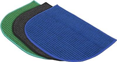 Kuber Industries D-Shape Microfiber Anti Slip 3 Pieces Door Mat (14'' x 23'', Green & Grey & Blue)-KUBMART12228