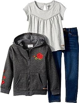 Hudson Kids - Three-Piece Set w/ Jersey Top, Fleece Jacket, and Skinny Denim Pants (Toddler)