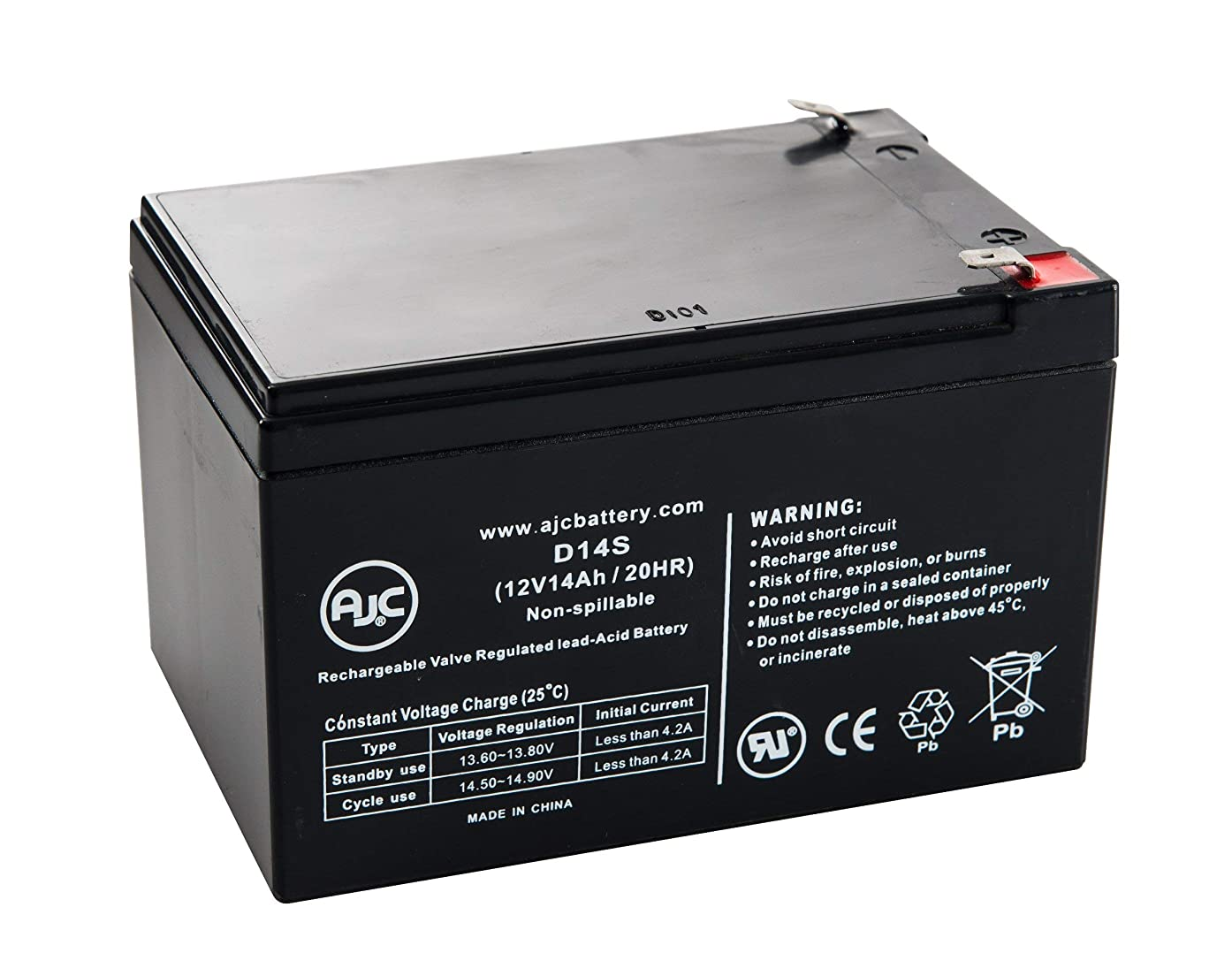 WKDC12-14F2 12V 14Ah Sealed Lead Acid Battery - This is an AJC Brand Replacement