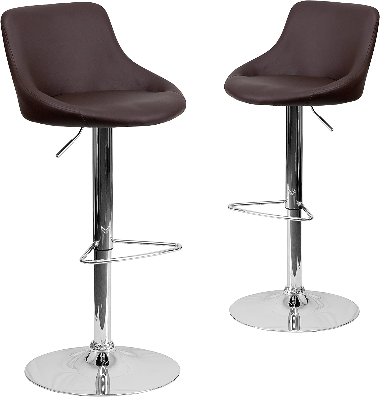 Flash Furniture 2-CH-82028-MOD-BRN-GG 2-Pack Contemporary Vinyl Bucket Seat Adjustable Height Bar Stool with Chrome Base, 41.5-Inch, Brown