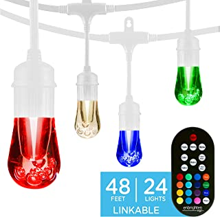 Enbrighten 39092 Vintage Seasons LED Warm White & Color Changing Café String Lights, White, 48ft, 24 Premium Impact Resistant Lifetime Bulbs, Wireless, Weatherproof, Indoor/Outdoor, 48 ft