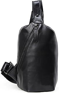 [(チョウギュウ) 潮牛] メンズ 本革 ナッパレザー ボディバッグ ワンショルダーバッグ 超軽量 撥水 iPadmini対応 自転車鞄 ブラック