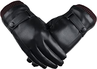 SRANDER Mens Outdoor Leather Winter Warm Gloves Touchscreen Texting Function