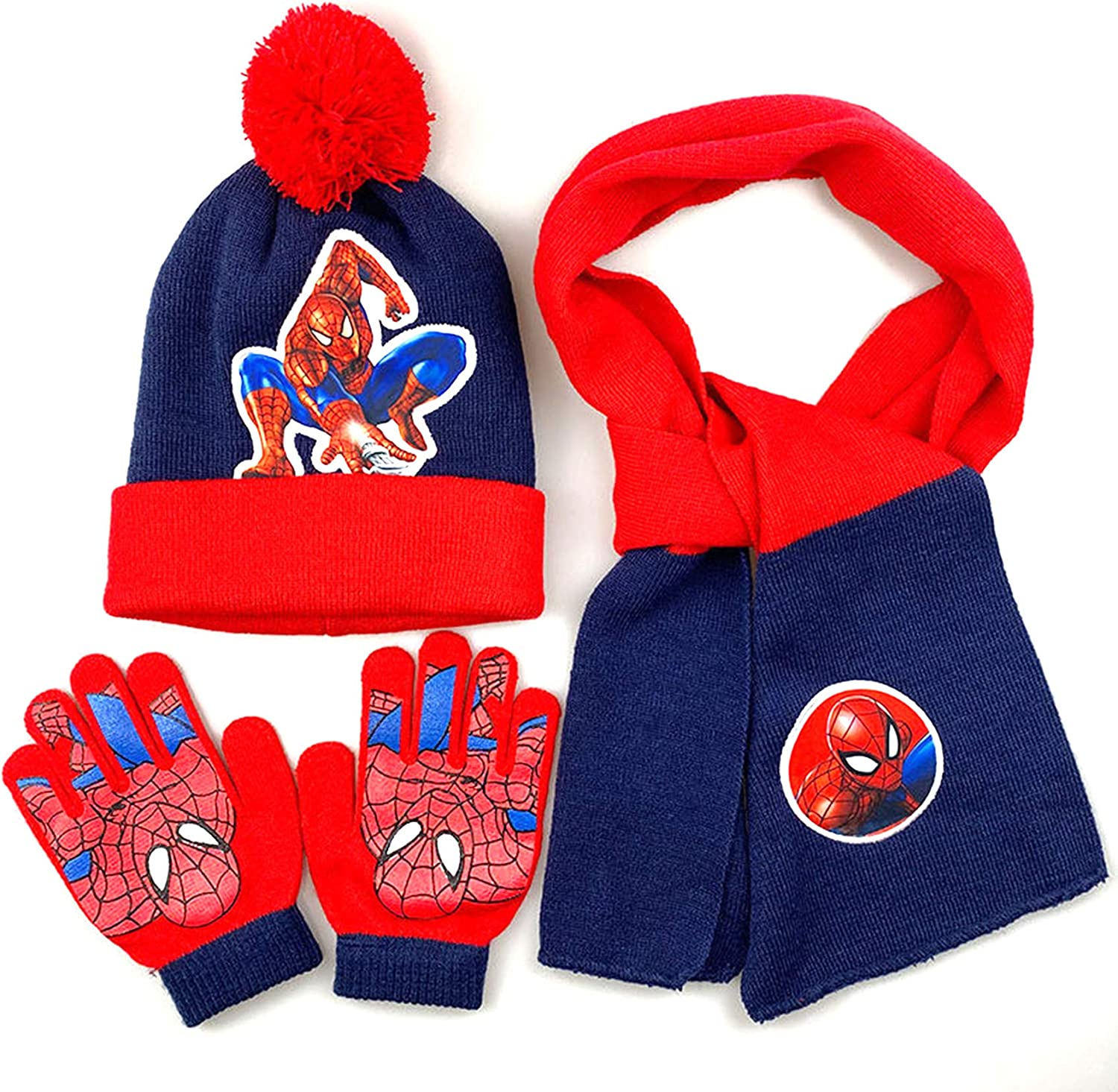 LINLIN Toddler Winter Knitted Hat Gloves Scarf 3 Piece Set 3~8 Years Boys Windproof Warm Cap Clothing Accessories Scarf Fashion Textile Wool Gloves,Blue
