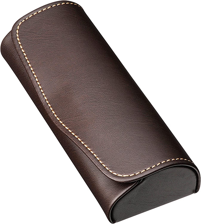 M-world Compact Glasses Case Hard Shell,Faux Leather,Stitching Stylish,