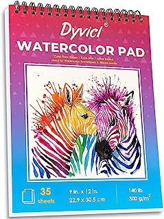 "Dyvicl Watercolor Pad 9""x12"", 35 Sheets (140 lb/300gsm), Spiral Bound Cold Press Watercolor Paper Pad, Watercolor Sketchbo..."
