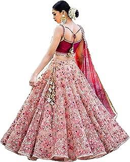 ShreeBalaji Women's Pink1 Color Net Embroidered Lehenga Choli For Bridal Wear(Pink FreeSize)