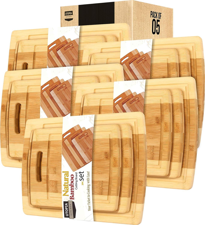 Utopia Kitchen Natural Bamboo Las Vegas Mall Cutting Boards P Piece 3 Set Japan Maker New Bulk