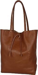 AmbraModa GL032 - Bolso de piel italiana, bolso de mujer, shopper, bolso de kombro con bolsito interior de piel de vacuno ...