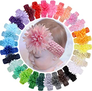 """ALinmo 30 Colors Baby Girls Headbands 4"""" Chiffon Flower Soft Stretchy Hair Band Hair Accessories for Baby Girls Toddler In..."""