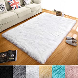 LOCHAS Soft Faux Sheepskin Fluffy Rugs for Bedroom Kids Room, High Pile Faux Fur Area Rug Mixed Sequins Bedside Floor Carpet Photography, 3x5 Feet Rectangular, White Mixed Silver Sequins