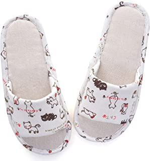 LUXINYU Womens Home Slippers,Cotton and Linen Casual Indoor Outdoor Open-Toe Shoes