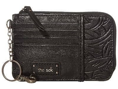 The Sak Iris Card Wallet (Black Leaf Embossed) Wallet Handbags