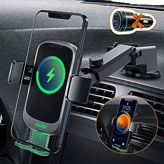 Auckly 15W Qi Chargeur Induction Voiture,[Automatique masqué],Chargeur Sans Fil Voiture Rapide Automatic Clamping Porte Cl...