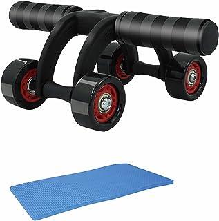 マクロス 4輪 ホイール 安定感 抜群 トレーニング ローラー 本格派 (腹筋 背中 腕 脚 に) 耐荷重250KG 専用マット付き MCF-38
