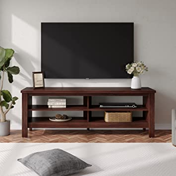 Amazon Com Wampat Tv Stand For 65 Inch Tv Entertainment Center With 4 Storage Shelf Wood Console Table Cabinet For Living Room And Bedroom 60 Brown Furniture Decor